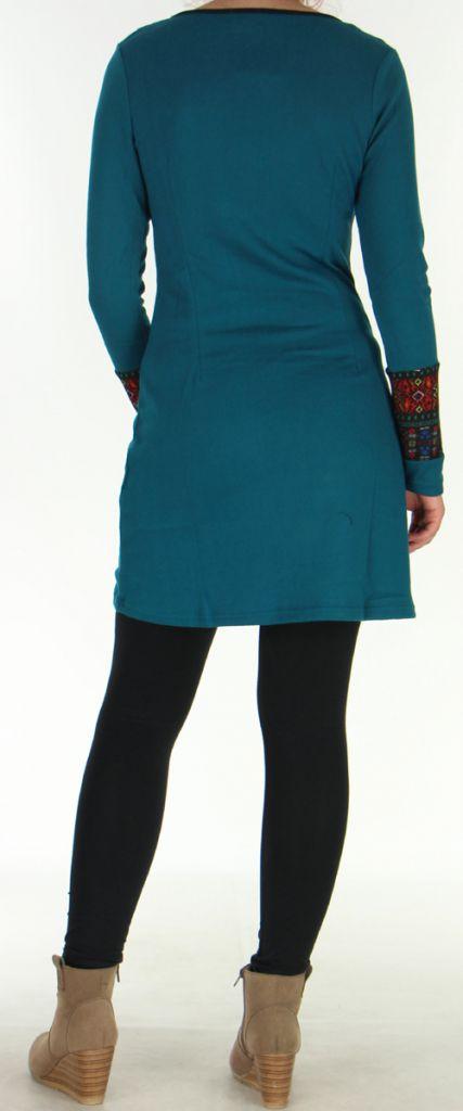 Robe courte Ethnique et Originale en Maille Vitalie Emeraude 276467