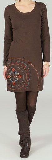 Robe courte ethnique et originale Marron Cannelle 273771
