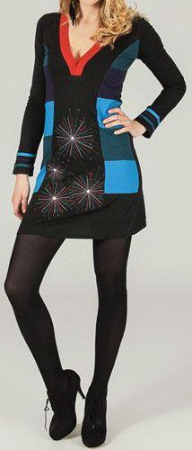 Robe courte ethnique et originale Noire/Bleue Apoline 273763