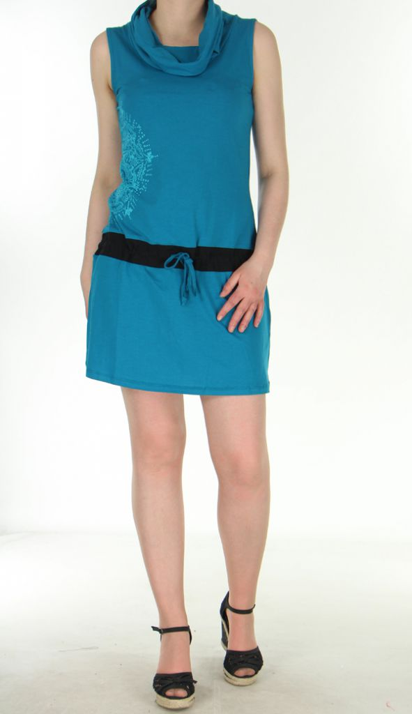 robe courte ethnique et sportwear chic bleue stelly. Black Bedroom Furniture Sets. Home Design Ideas