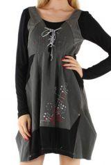 Robe courte ethnique grise et noire originale Manon 304383