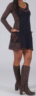 Robe courte ethnique marron avec 2 poches brodées Machy