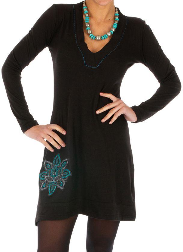 Robe courte ethnique noire avec col en V féminin Moroni 313904