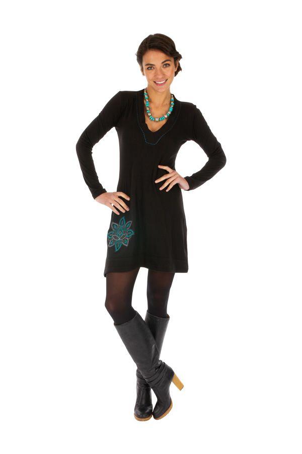 Robe courte ethnique noire avec col en V féminin Moroni 313905