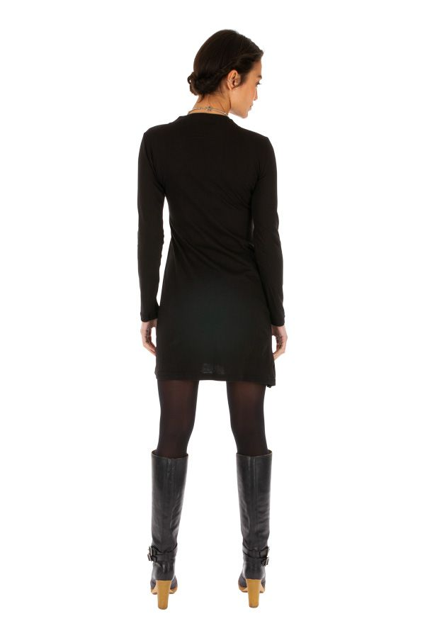 Robe courte ethnique noire avec col en V féminin Moroni 313906