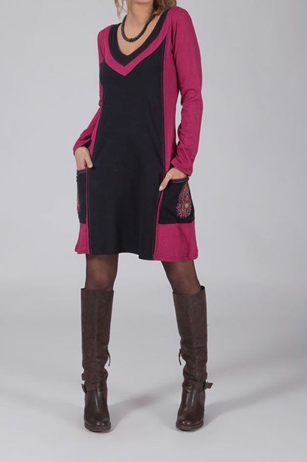 Robe courte ethnique rose avec 2 poches brodées Machy 318792