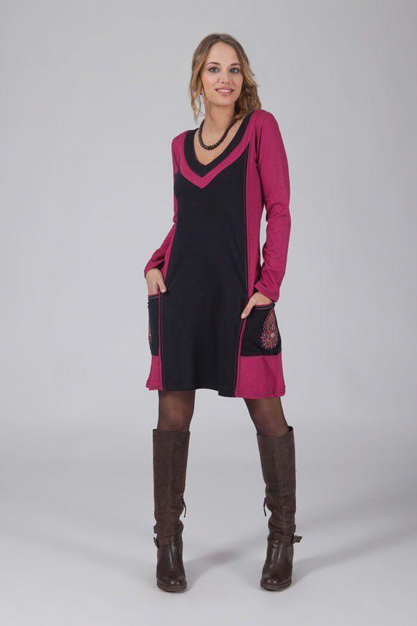 Robe courte ethnique rose avec 2 poches brodées Machy 318793