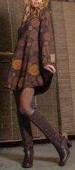 Robe courte évasée à col rond ethnique et originale marron Mista 274131