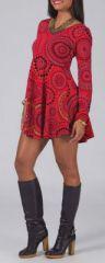 Robe courte évasée à col rond ethnique et originale rouge Mista 274144
