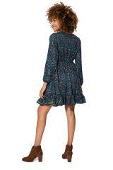 Robe courte évasée à volants femme bleue mode Simone