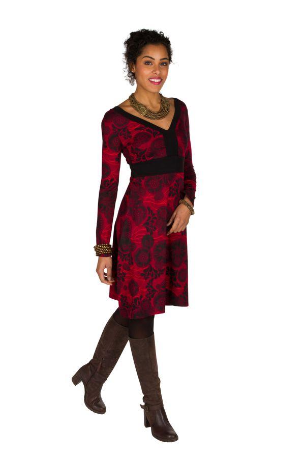 Robe courte fantaisie à imprimés et col en V Saveria 301663