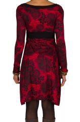 Robe courte fantaisie à imprimés et col en V Saveria 301664