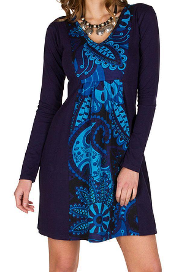 Robe courte fantaisie à manches longues et col V Bleue Connor 301592