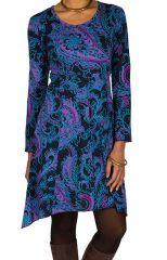 Robe courte fantaisie asymétrique avec imprimés Bleue Loretta 301103