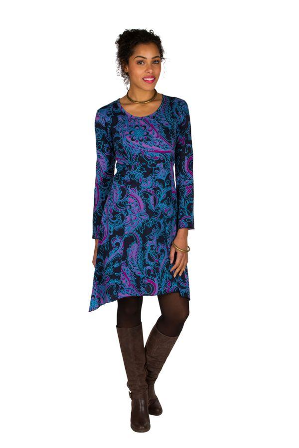 Robe courte fantaisie asymétrique avec imprimés Bleue Loretta 301105