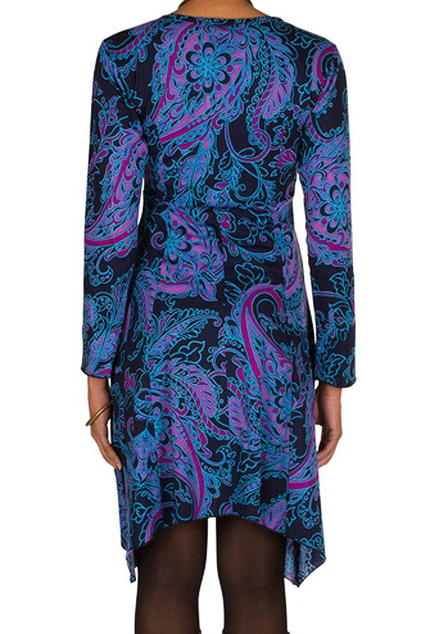 Robe courte fantaisie asymétrique avec imprimés Bleue Loretta 301107