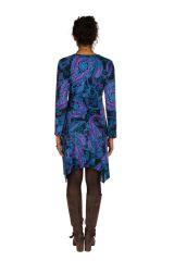 Robe courte fantaisie asymétrique avec imprimés Bleue Loretta 301108