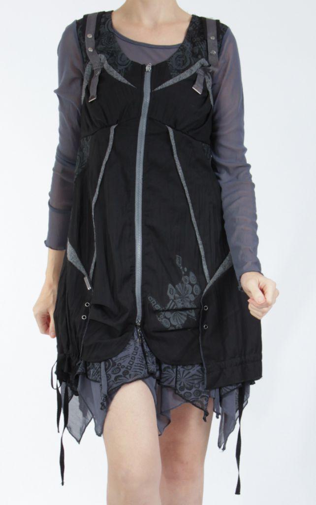 Robe courte fantaisie effet déstructuré noire Gulia 305200