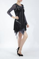 Robe courte fantaisie effet déstructuré noire Gulia 305201