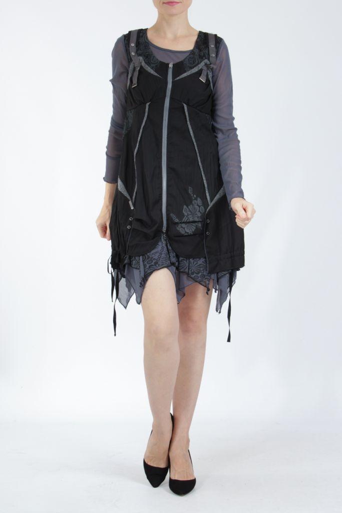 Robe courte fantaisie effet déstructuré noire Gulia 305202
