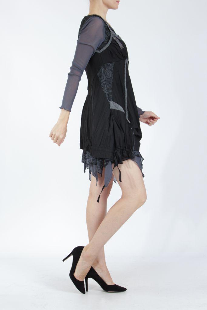 Robe courte fantaisie effet déstructuré noire Gulia 305203
