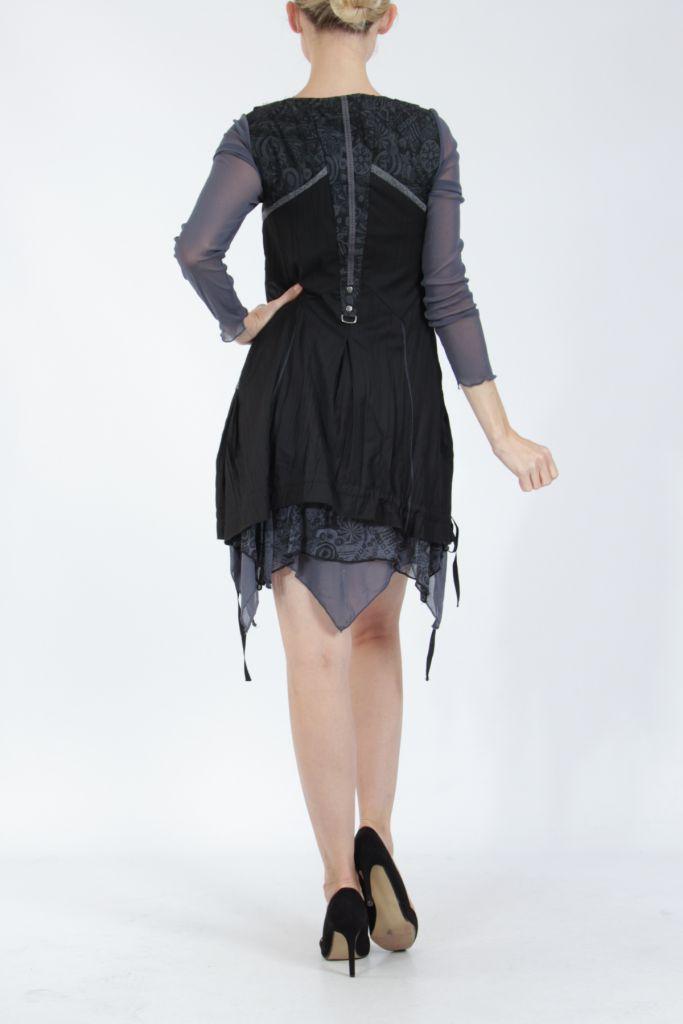 Robe courte fantaisie effet déstructuré noire Gulia 305204