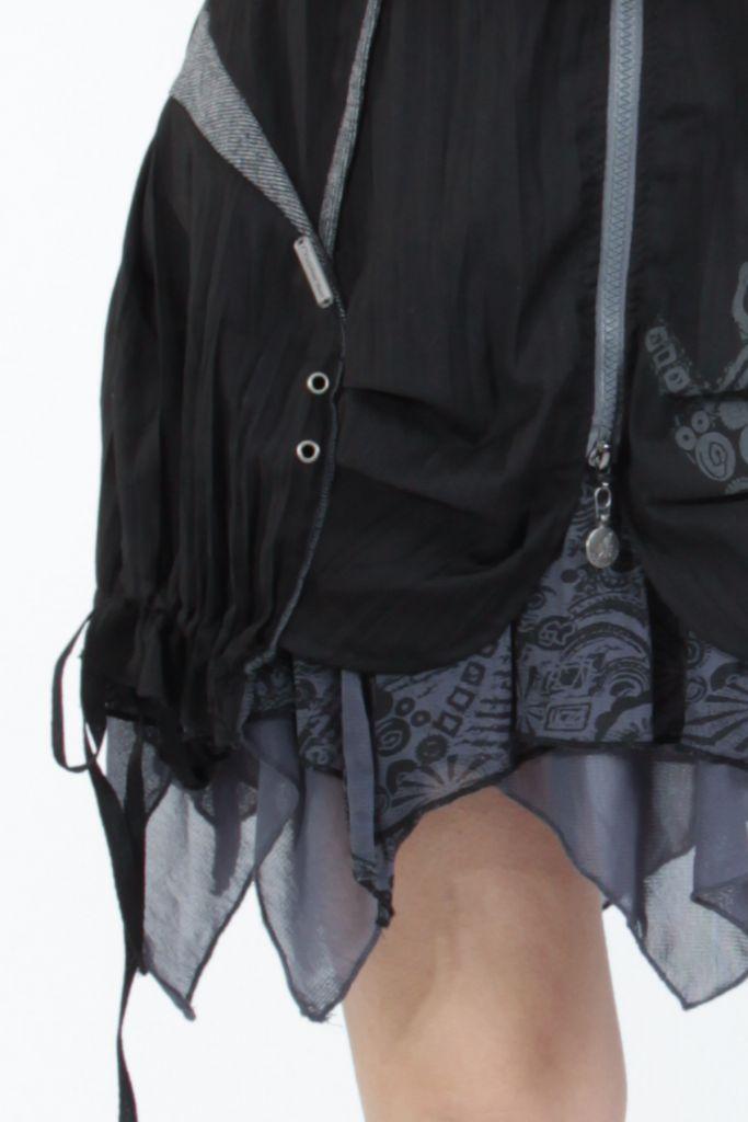 Robe courte fantaisie effet déstructuré noire Gulia 305205