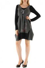 Robe courte fantaisie grise et noire originale Manon 304384