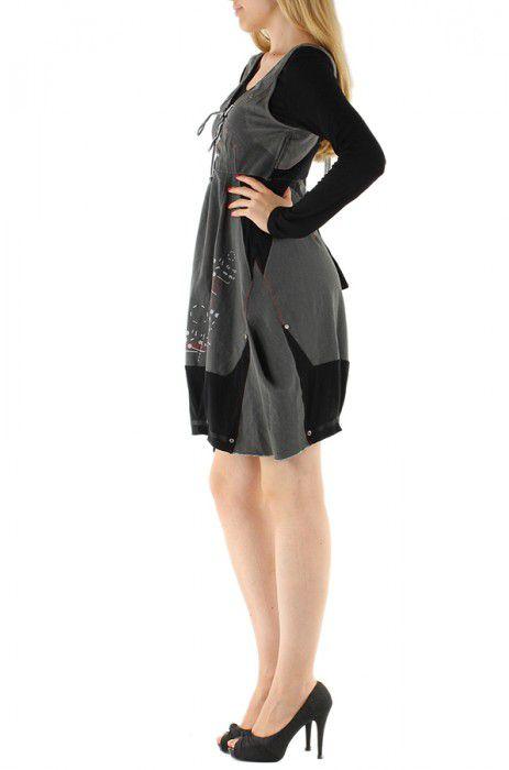 Robe courte fantaisie grise et noire originale Manon 304385