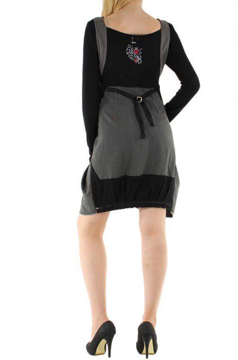Robe courte fantaisie grise et noire originale Manon 304386