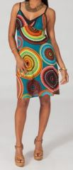 Robe courte fashion col V à fines bretelles Malorine