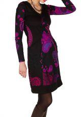 Robe courte féminine à col rond et manches longues Talissa 299094