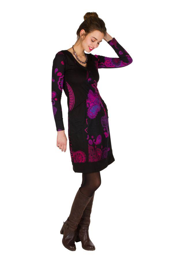 Robe courte féminine à col rond et manches longues Talissa 299095