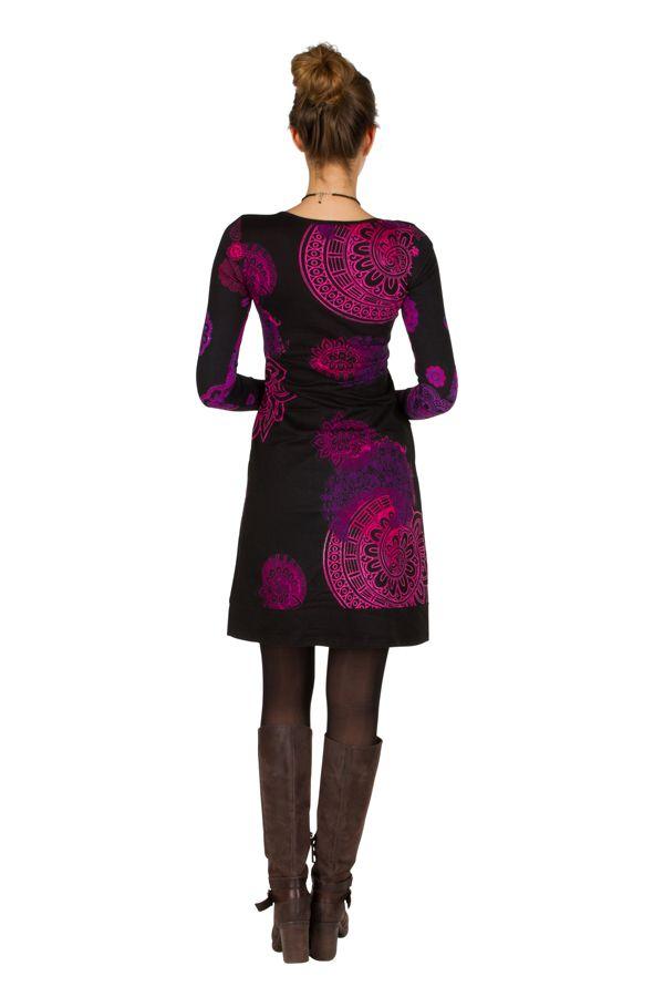 Robe courte féminine à col rond et manches longues Talissa 299097