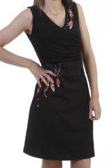 Robe courte féminine et ethnique avec imprimés indiens noire Nolly 296637