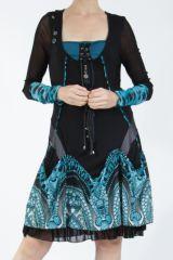 Robe courte féminine et originale noire et bleue Yaki 305169