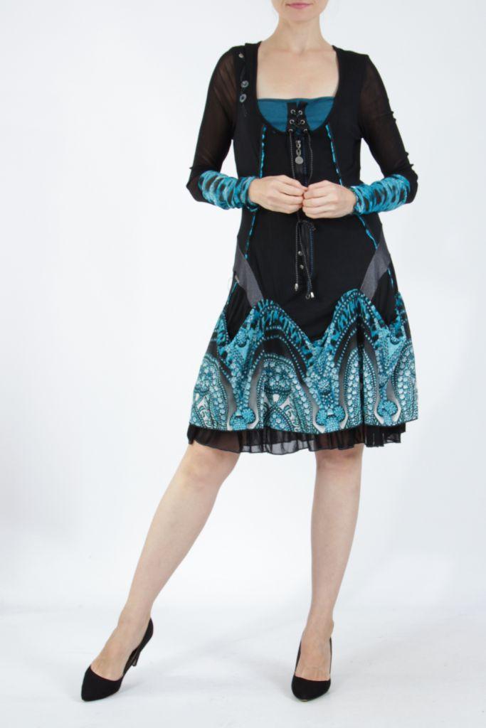 Robe courte féminine et originale noire et bleue Yaki 305170