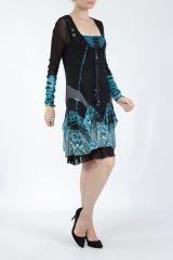 Robe courte féminine et originale noire et bleue Yaki 305171