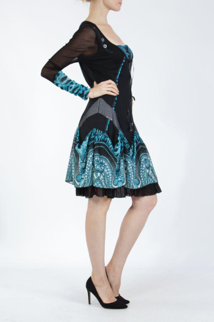 Robe courte féminine et originale noire et bleue Yaki 305172