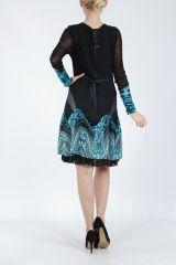 Robe courte féminine et originale noire et bleue Yaki 305173