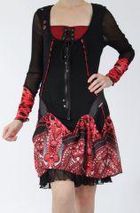 Robe courte féminine et originale noire et rouge Yaki 305175