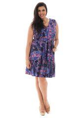 Robe courte féminine idéale été avec ses imprimés ethniques Eloa 290408