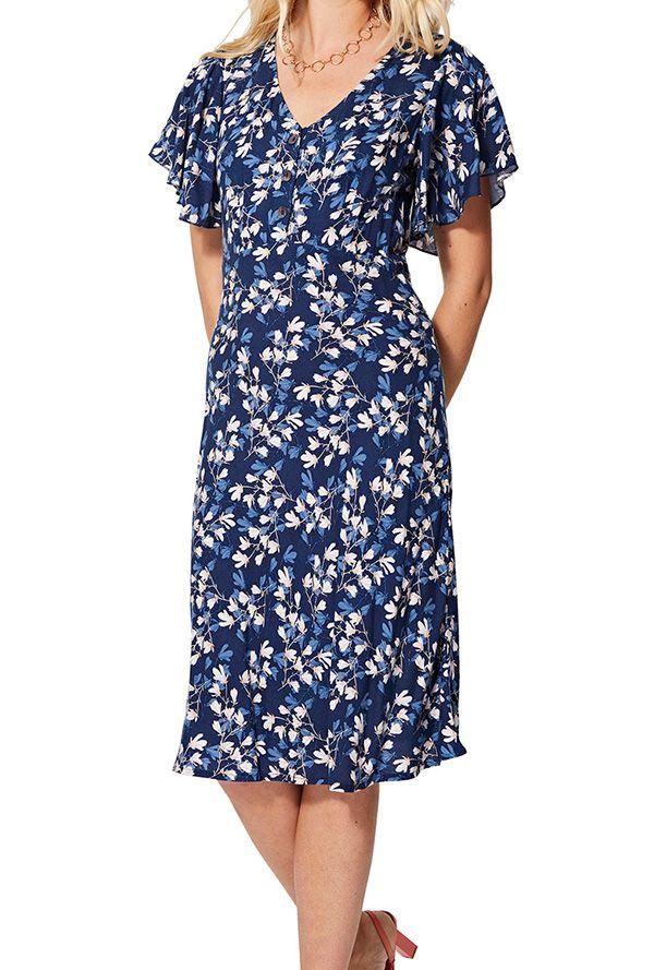 Robe courte femme à manches bouffantes bohème chic à fleurs Emine