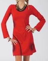 Robe courte femme à manches longues ethnique Alevia rouge 315035