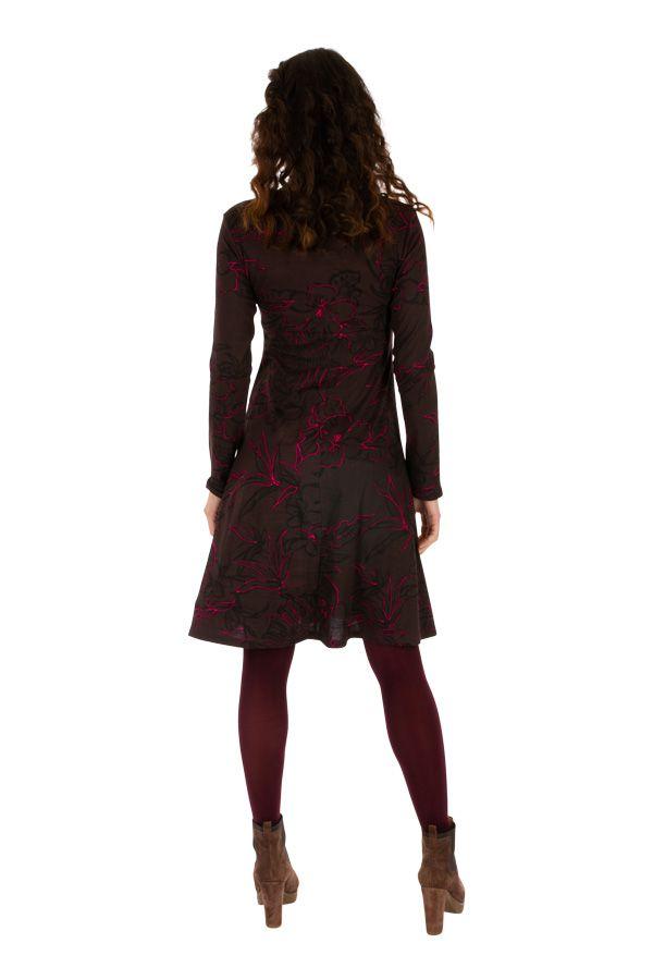 Robe courte femme à manches longues évasée et col V Koubia 313232