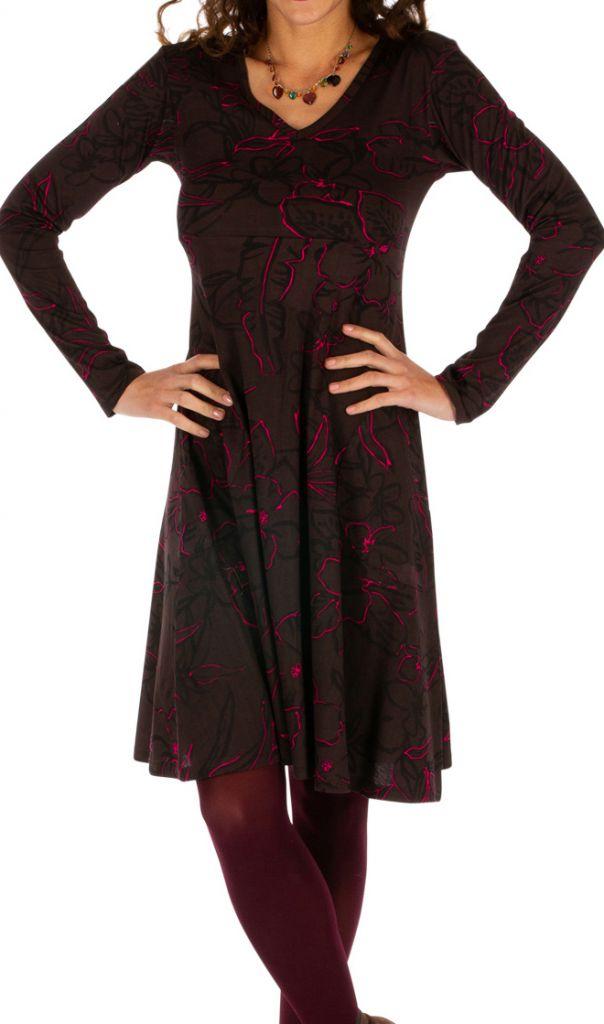 Robe courte femme à manches longues évasée et col V Koubia 313233