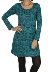 Robe courte femme avec imprimé floral bleu Indila