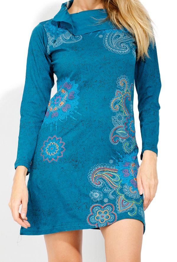 Robe courte femme coton à manches longues Tunasa 323078