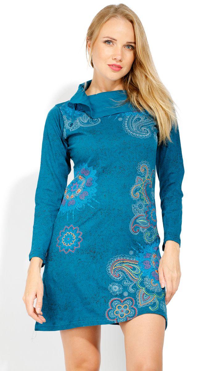 Robe courte femme coton à manches longues Tunasa 323079