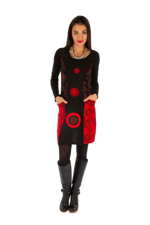 Robe courte femme d'hiver ethnique et colorée Damaturu 313429